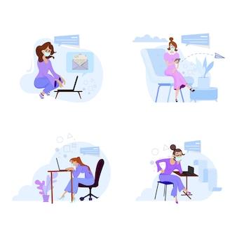 Frauen, die von zu hause oder vom büro aus unter quarantäne-maskentabletten arbeiten und nachrichten lesen.