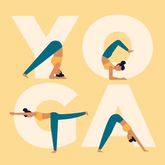 Frauen, die yoga flaches design tun