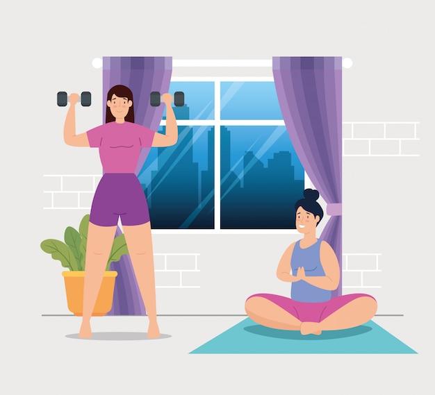 Frauen, die yoga machen und gewichte im hausvektorillustrationsdesign heben