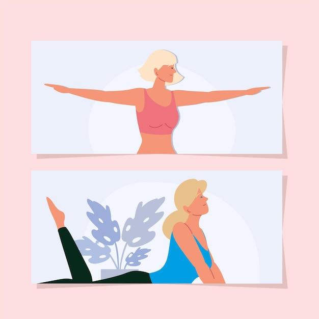 Frauen, die yoga-positionen-banner-set machen