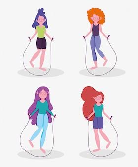 Frauen, die zu hause springseil-aktivitätssportübung üben