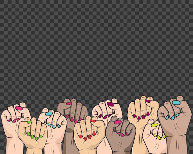 Frauen erhoben ihre hände im kampf gegen die unterdrückung der rechte von frauen und menschen