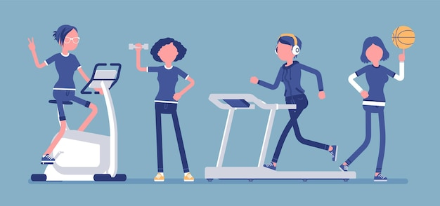 Frauen fitness club illustration