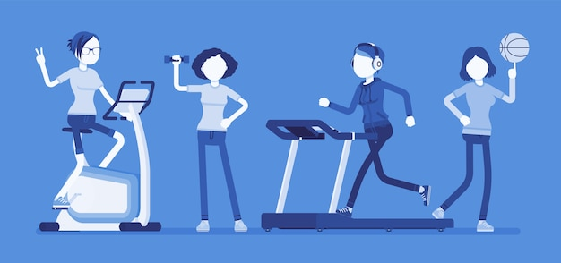 Frauen fitness club. schlanke attraktive damen, die sportübungen an krafttrainingsgeräten, trainingsgeräten für die gesundheit und gewichtsverlust für die körperform machen. illustration mit gesichtslosen zeichen