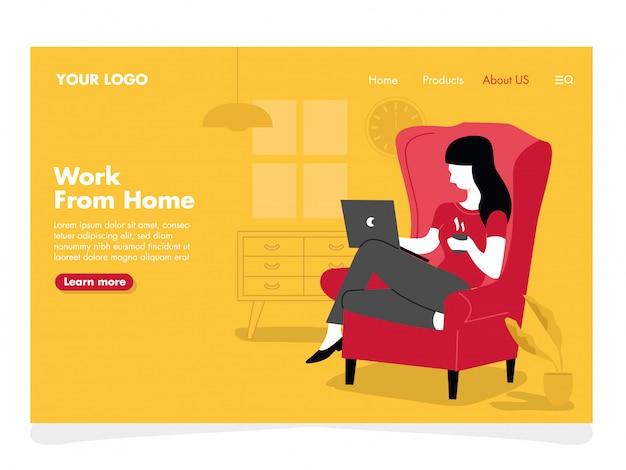 Frauen-freiberufliche illustration für landing-page
