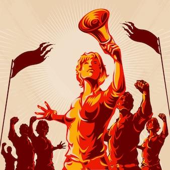 Frauen führen menge protest illustration