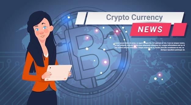 Frauen-führende krypto-währungs-nachrichten berichten goldenes bitcoin über weltkarte-digital-netz-geld-konzept
