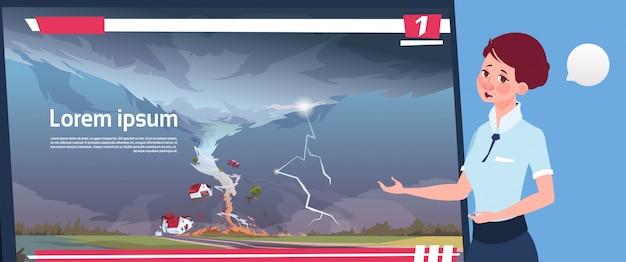 Frauen-führende live-fernsehsendung über den tornado, der bauernhof-hurrikan-schadens-nachrichten des sturmes waterspout im landschafts-naturkatastrophen-konzept zerstört