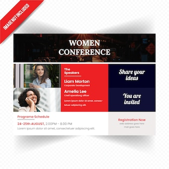 Frauen-führerschaft conference horizontale flieger-schablone