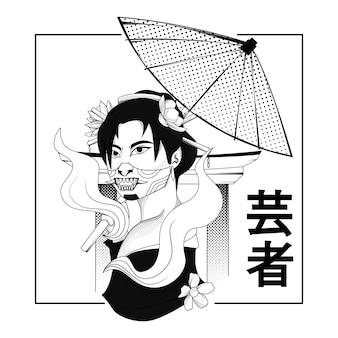 Frauen geisha schwarz-weiß-illustration für thsirt