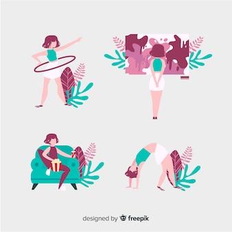 Frauen genießen ihre freizeit zu hause mit monstera-blättern