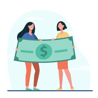 Frauen gewinnen geldpreis. glückliche mädchen, die flache illustration der riesigen dollarbanknote halten