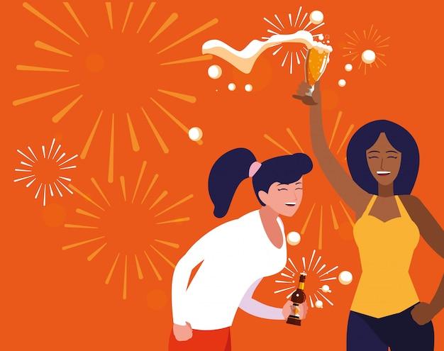 Frauen glücklich feiern party avatar charakter