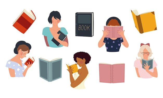 Frauen halten ein buch in ihren händen und lesen konzeptillustration