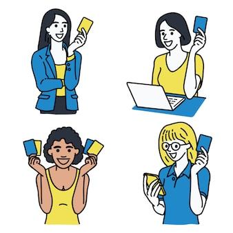 Frauen halten kreditkarte