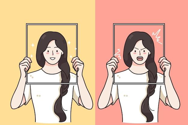 Frauen halten rahmen mit fröhlichem lachen fröhlich und wütend aggressiv wütend ausdruck