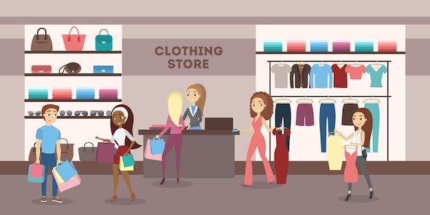 Frauen im bekleidungsgeschäft, die kleidung und schuhe kaufen.