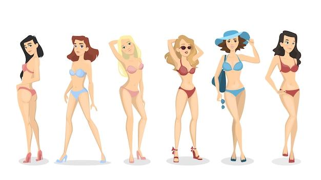 Frauen im bikini-set. schöne mädchen in badebekleidung.
