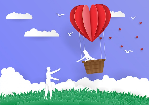Frauen im eimerherzballon gehen, mannliebe zu bemannen