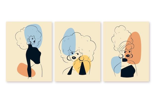 Frauen im eleganten strichgrafiken-pack