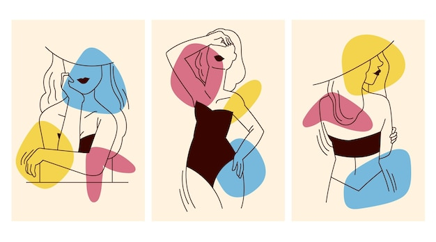 Frauen im eleganten strichgrafikstil