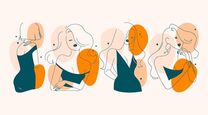 Frauen im eleganten strichkunststil illustriert