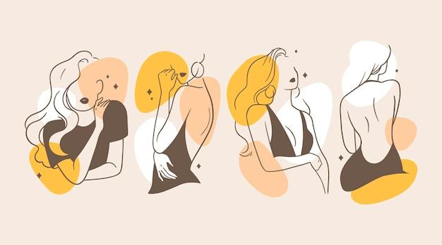 Frauen im eleganten strichkunststilkonzept