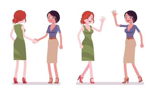 Frauen im händedruck und high five geste