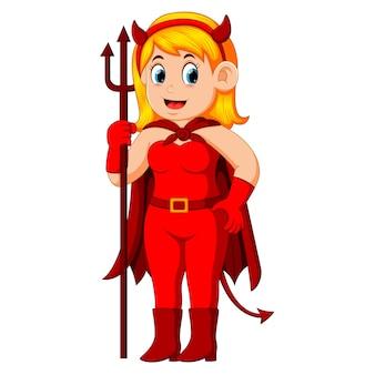 Frauen im halloween-kostüm des roten teufels