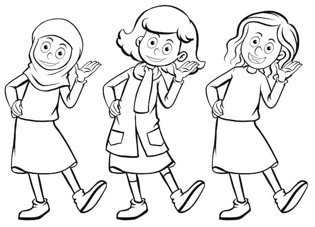 Frauen in drei verschiedenen kostümen