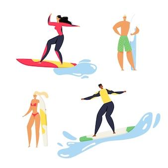 Frauen in sportbekleidung reiten surfbrett von ocean waves