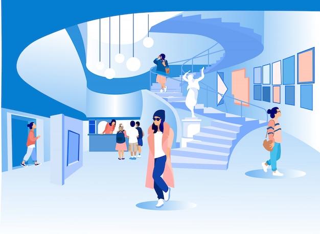Frauen in stilvoller kleidung in der hall art gallery.