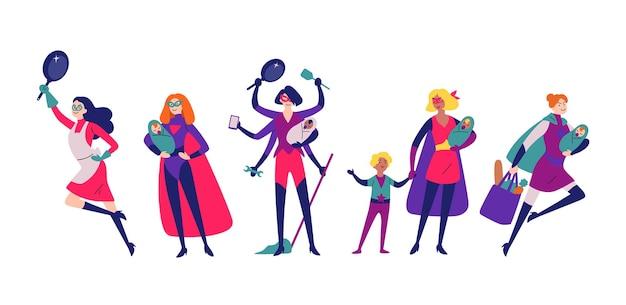 Frauen in superheldenkostümen erledigen hausarbeit, putzen und ziehen kinder auf.