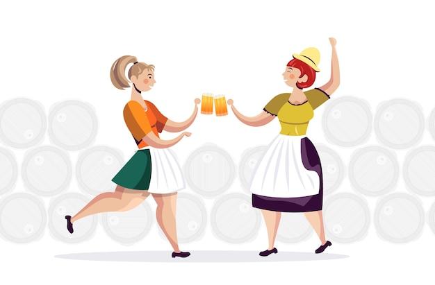 Frauen in traditioneller kleidung, die bier trinken, feiern oktoberfest-partyfreunde, die spaß horizontale vektorillustration in voller länge haben
