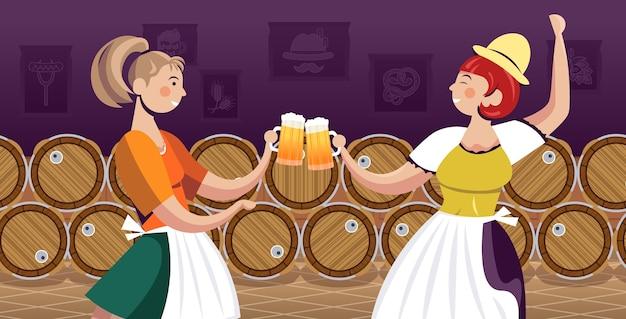 Frauen in traditioneller kleidung, die bier trinken, feiern oktoberfest-partyfreunde, die spaßporträt horizontale vektorillustration haben