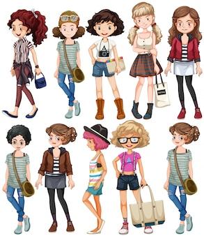 Frauen in verschiedenen kleidern