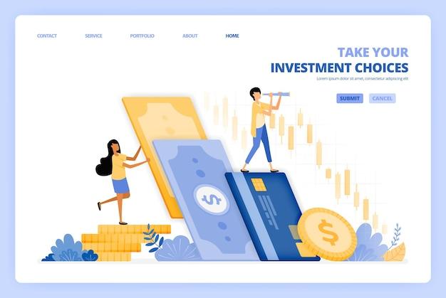 Frauen investieren geld in aktienmärkte. männer entscheiden sich dafür, in der bank zu sparen. das illustrationskonzept kann für die zielseite verwendet werden