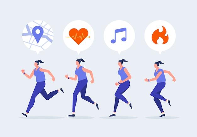 Frauen joggen charakter mit smartwatch. gesunder lebensstil mit technologiegerätekonzeptvektorillustration.
