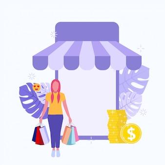Frauen kaufen online, indem sie viele produkthintergrundillustration kaufen