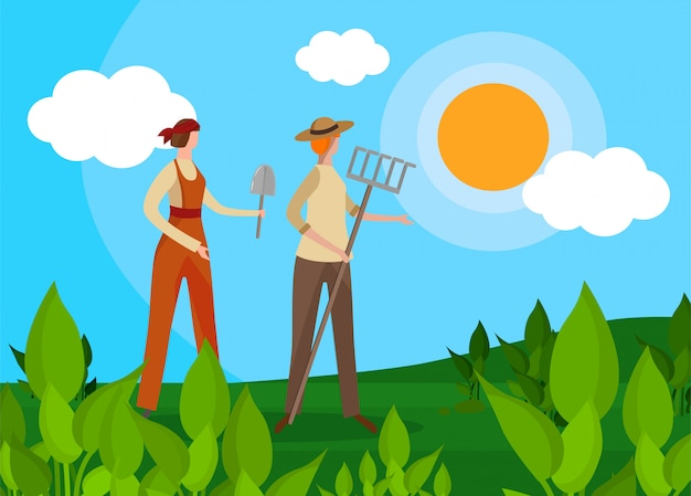 Frauen landwirte charaktere mit landwirtschaftlichen werkzeugen.