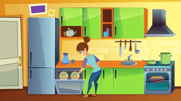 Frauen-last-schmutzige teller in der spülmaschine auf küche