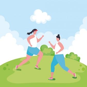 Frauen laufen im freien, gruppe sportlerin im park