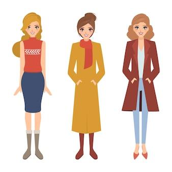 Frauen lebensstil in verschiedenen kleidern.