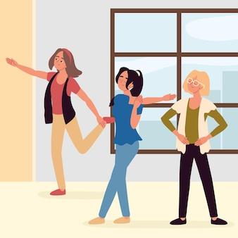 Frauen machen aktive pause