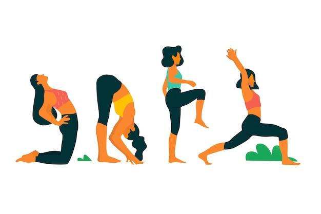 Frauen machen cardio yoga tag