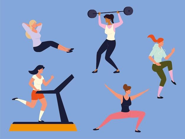 Frauen machen fitnessübungen