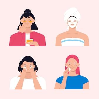 Frauen machen ihre hautpflege routine