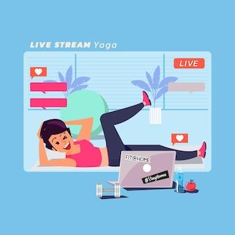 Frauen machen yoga im live-stream, online-klasse. zu hause bleiben konzept - illustration