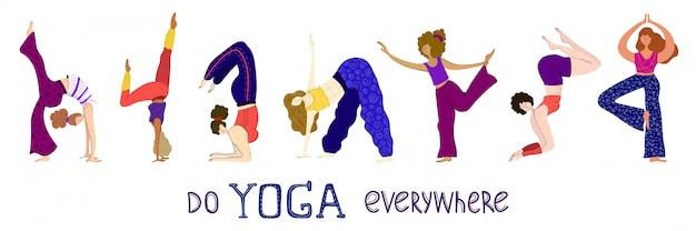 Frauen machen yoga in der klasse, schriftzüge