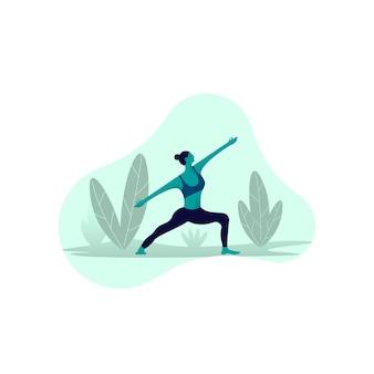 Frauen machen yoga vektor-illustration